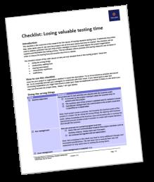 Checklist Losing valuable testing time - Derk-Jan de Grood